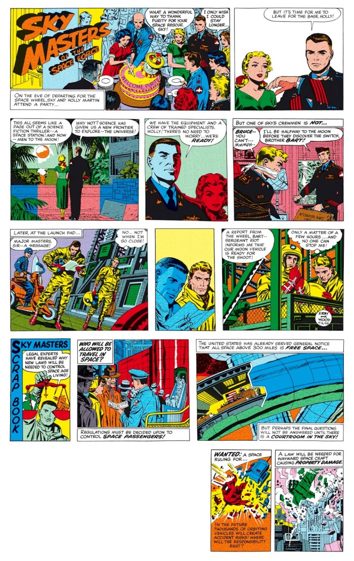 One of the Sky Masters Sunday strips published in 1959. The two panels at the bottom of this image were used in the strip's horizontal format