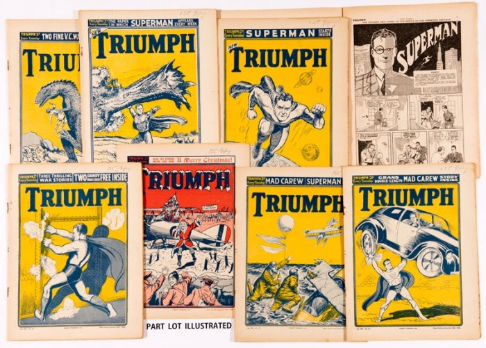 Triumph/Superman (1939) 771-792 From the Bob Monkhouse Archive. This complete Superman run includes issue 771 with ad showing Superman front cover for issue 772. These first Superman UK reprints show four Superman covers by UK artist John McCail with issue 788 re-working the US Action Comics #1 cover of June 1938