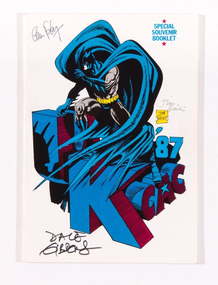 UK Comic Art Convention brochure 1987. A 76 page Special Souvenir Booklet, signed by Bill Sienkiewicz, Will Eisner, Glen Fabry, Dave Gibbons, Brett Ewins, Brian Bolland, Jim Baikie, Bryan Talbot, Bill Higgins, Cam Kennedy, Mike Colllins and Kevin O'Neill