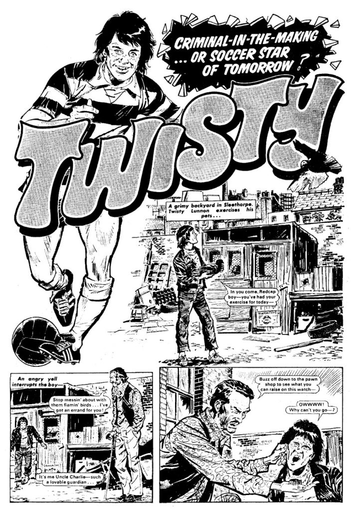 Twisty Lunnon was a fantastic footballer, with an attitude, who also raced pigeons in his spare time and sometimes had brushes with the law. He started off playing as an apprentice with 4th division Sleethorpe United. He had a crooked left foot (caused by a car crash) which allowed him to bend the ball with astonishing accuracy. Art by Tony Harding.