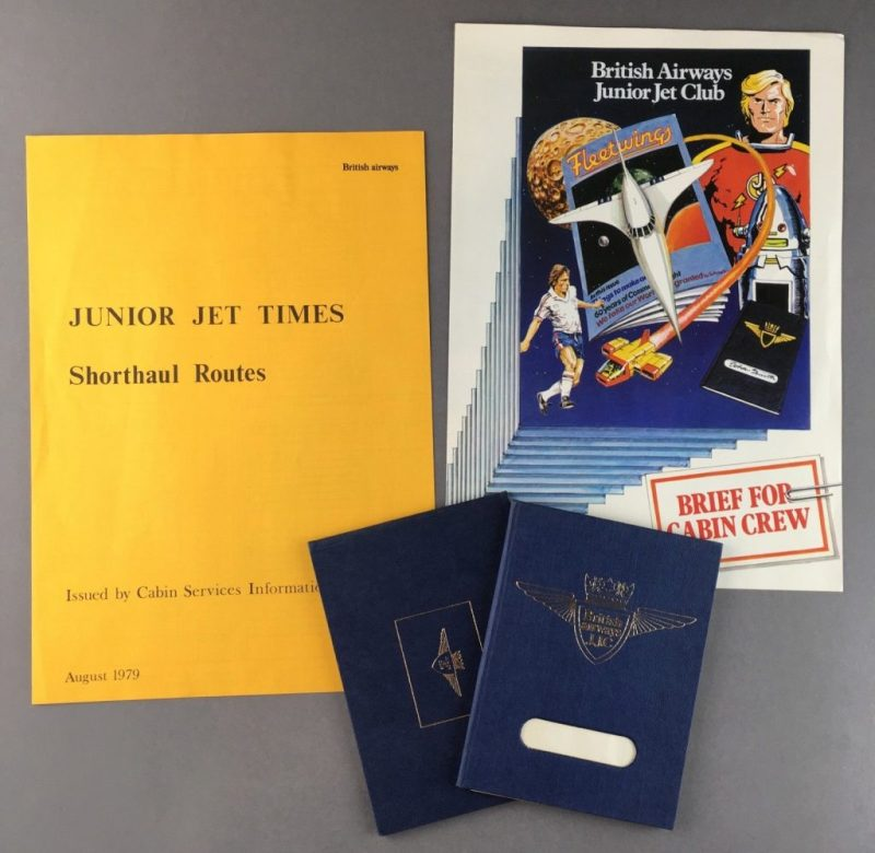 """A 1979 briefing pack about the Junior Jet Club for British Airways staff. featuring the cover of the first revamped Fleetwings to feature """"Jet Jason"""""""