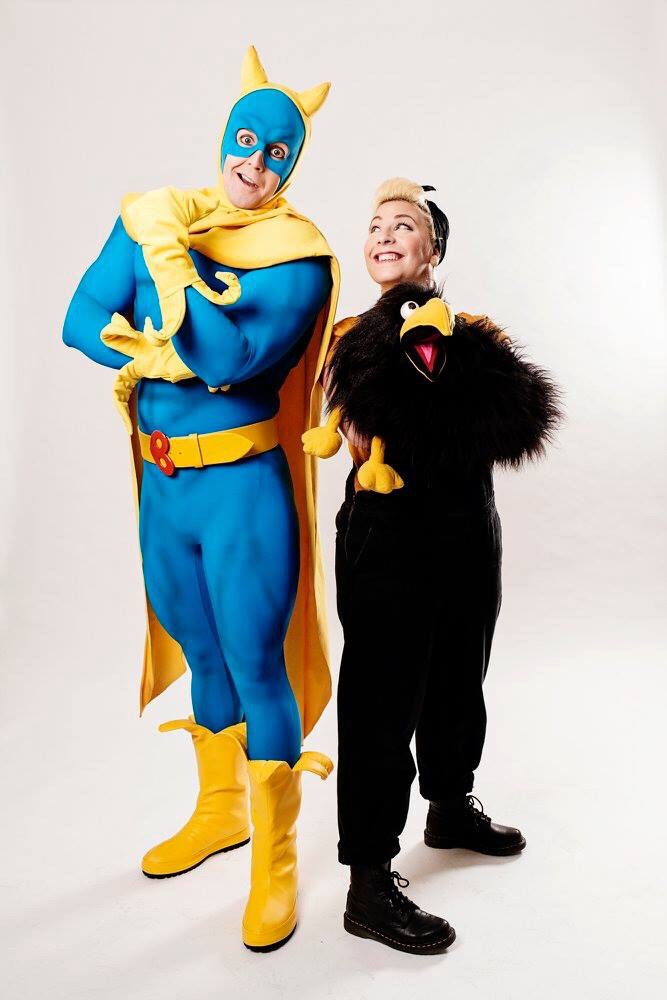 Matthew McKenna As Bananaman and Jodie Jacobs as Crow. Photo: Claire Bilyard