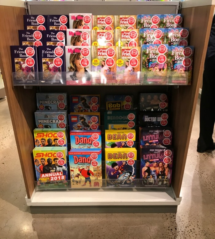 During a more recent visit I was very pleased to see Dandy and Beano annuals beaming out at passersby. This is the display amongst the comics and magazines, but Eason's is also a book store and the lower floor beneath this one is chock full of annuals!