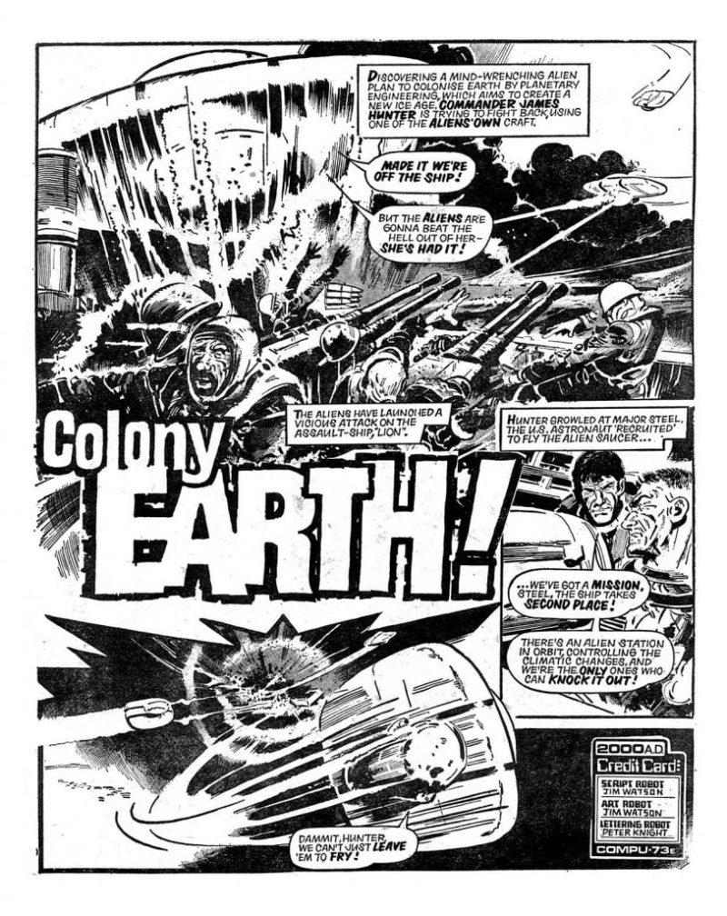 """Colony Earth: for 2000AD Prog 59, written and drawn by Jim Watson"