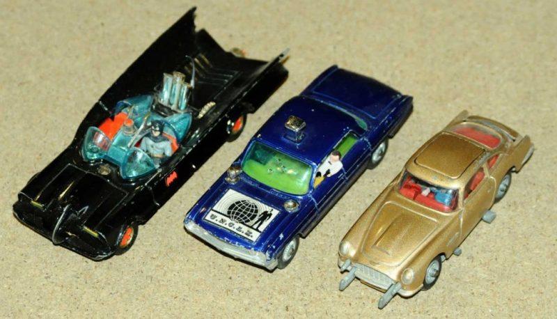 Corgi's Batmobile, a Man from U.N.C.L.E. car and James Bond Aston Martin DBG. Image: Vectis