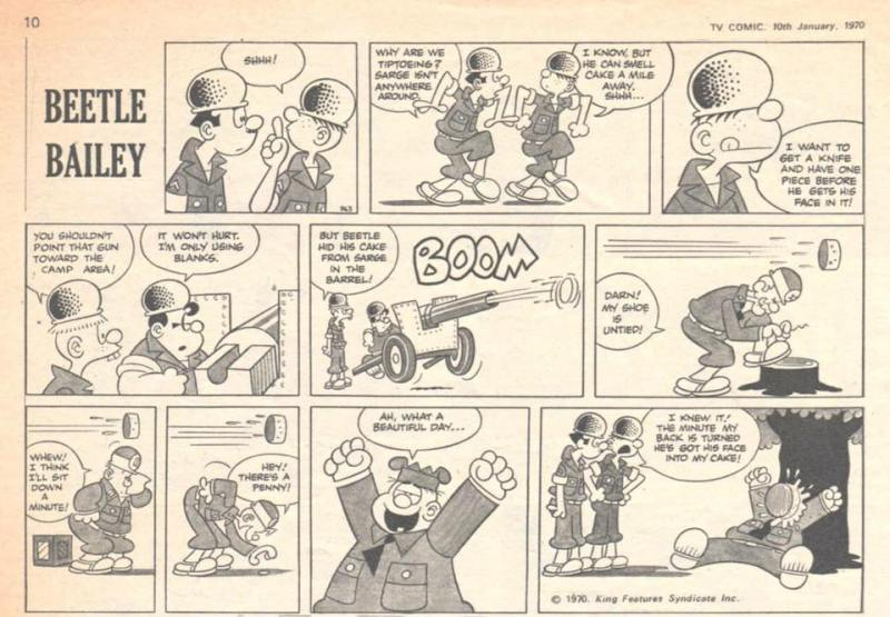 "This episode of "" Beetle Bailey"" in TV Comic published in 1970 may be a reprint of a US Sunday strip © King Features"