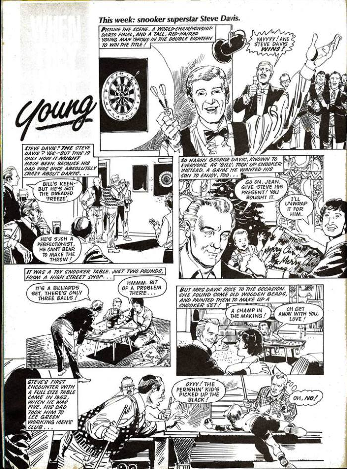 "Look-In - ""Young Steve Davis"" - 1983 (art by Jim Baikie)"