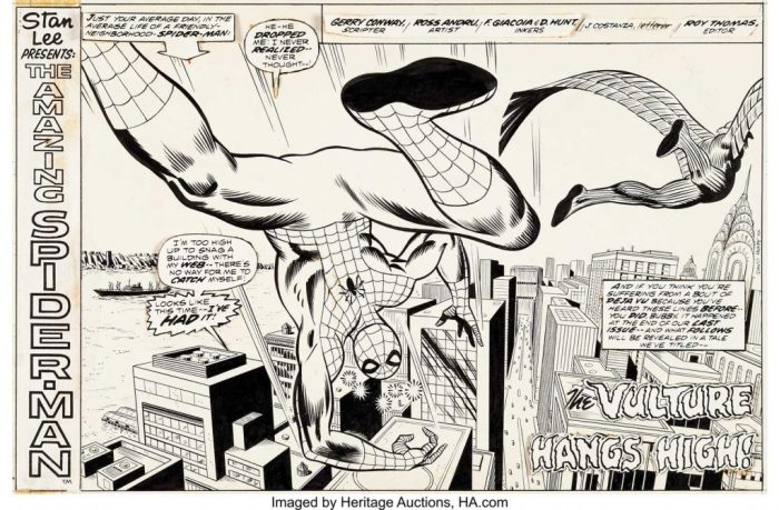 "Dave Hunt Super Spider-Man #177 Splash Page 1, an all-new splash page was created to introduce the reprint story ""The Vulture Hangs High"", which first appeared in Amazing Spider-Man #128 in 1974. One of the original inkers on the story, Dave Hunt, handled this recreation of the splash page to reformat it to the horizontal UK weekly publication."