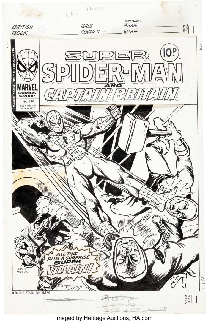 """Pablo Marcos Super Spider-Man #248 Cover Original Art (Marvel UK, 1977). A dynamic Pablo Marcos image. The logo, which includes """"Captain Britain"""" and corner box are paste-up. There is an included star-burst paste-up that proclaims """"All this plus a surprise Super Villain!"""" It is loose. It fits the glue residue shape perfectly, but does not match the text on the published cover. This could have been changed during production after the cover was shot. There are production oil stains in the top margin. In Very Good condition."""