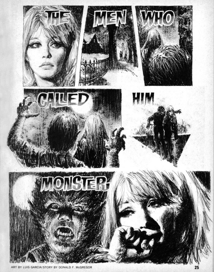 """Page One of """"The Men Who Called Him Monster"""", Luis Garcia Mozos first strip for Warren Publications, published in Creepy #43. The story features US comics first interracial kiss. (Modelled by Sydney Poitier and Carol de Haro)"""