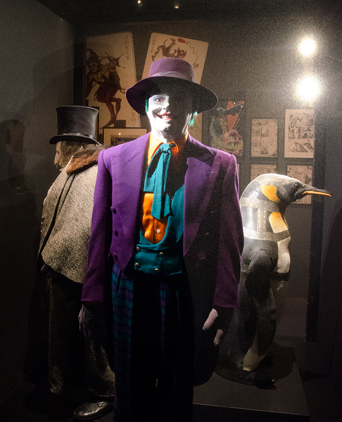 Penguin and Joker costumes, part of DC Exhibition: Dawn of Super Heroes. Image: Joel Meadows