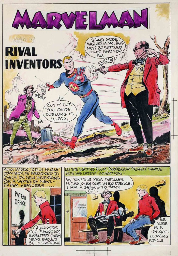 """One of Don Lawrence's earlier strips, a page for """"Marvelman"""""""