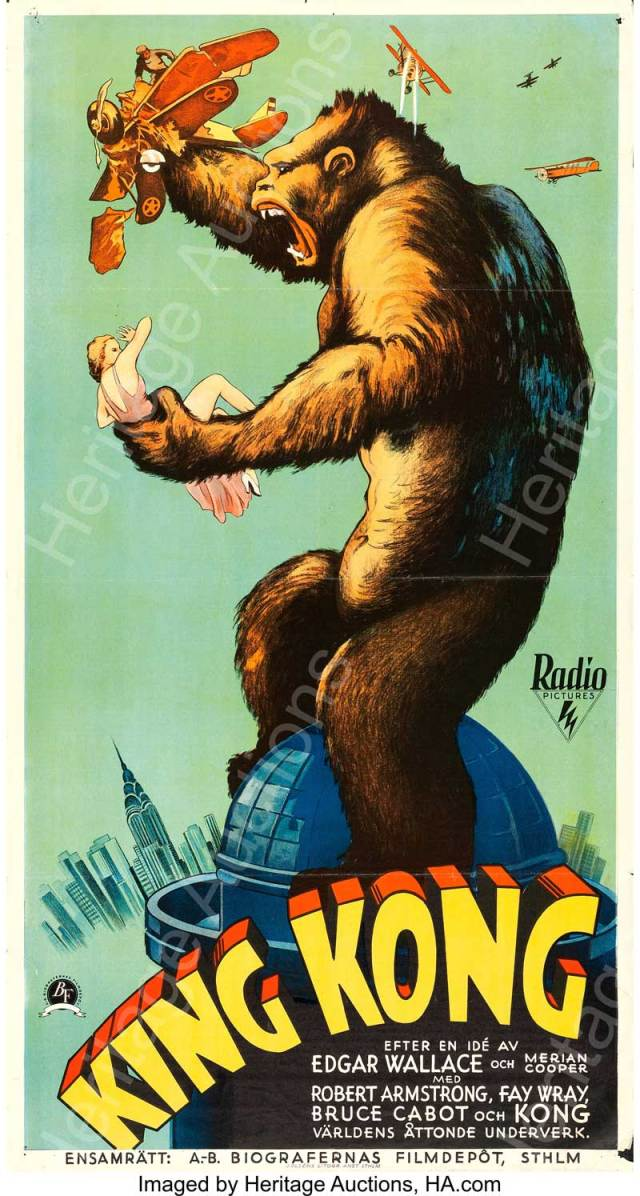 "King Kong (RKO, 1933). Swedish Oversized Poster (25.5"" X 47"")."
