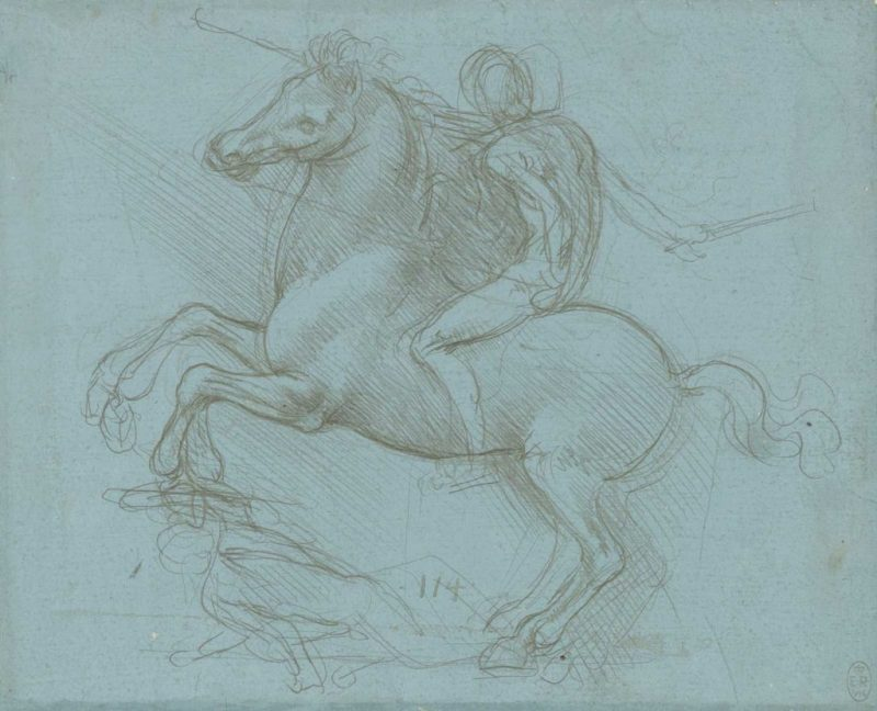 A design for an equestrian monument, c.1485-8, metalpoint on blue prepared paper by Leonardo da Vinci, to be displayed at Leeds Art Gallery