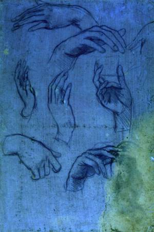 Studies of hands for the Adoration of the Magi â?? sheet 2 under ultraviolet light, c.1481, metalpoint (faded) on pink prepared paper, by Leonardo da Vinci, to be displayed at The Queen's Gallery, Buckingham Palace, London