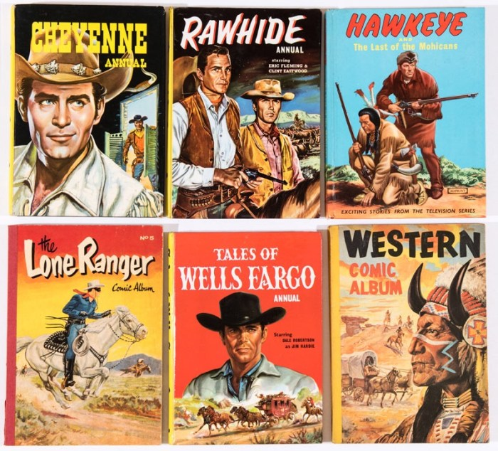 Rawhide, Cheyenne, Hawkeye (illustrated by Ron Embleton), Lone Ranger 5, Tales of Wells Fargo (1961), Western Comic Album 5