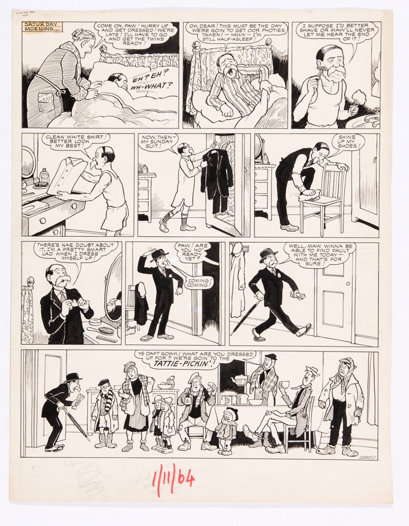 Broons original artwork (1964) drawn and signed by Dudley Watkins for the Sunday Post 1 November 1964 Paw thinks the family's getting their photies taken and gets all dressed up in his Sunday best and spats - only to find out that the family's in their old claes fer tattie-pickin' - Ye daft gowk!