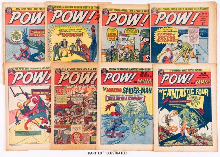 A mixed lot of POW! comics, featuring early UK reprints of Amazing Spider-Man, Fantastic Four and Sgt Fury