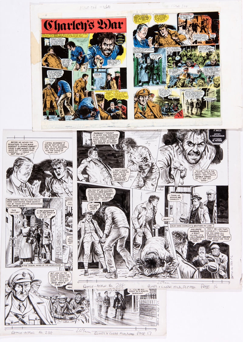 Charley's War two original artworks by Joe Colquhoun from Battle Action No 288 (1984) with printer's double-page colour layout and acetate overlay