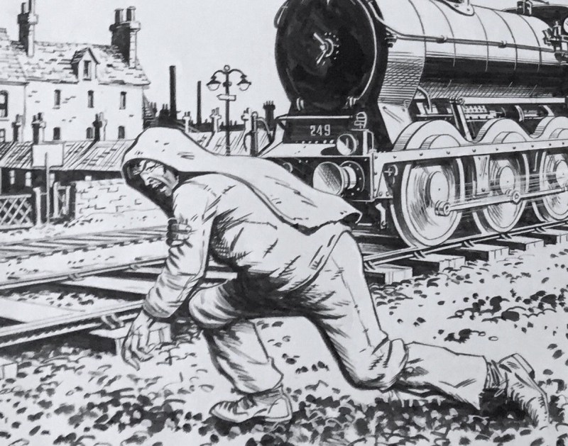 "Battle Action Cover Art - ""Charley's War"" - cover dated 1st November 1980. Art by Joe Colquhoun - detail"