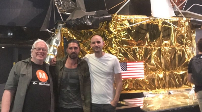 The creative team behind Apollo at London's Science Museum - Mike Collins, Matt Fitch and Chris 'C.S' Baker