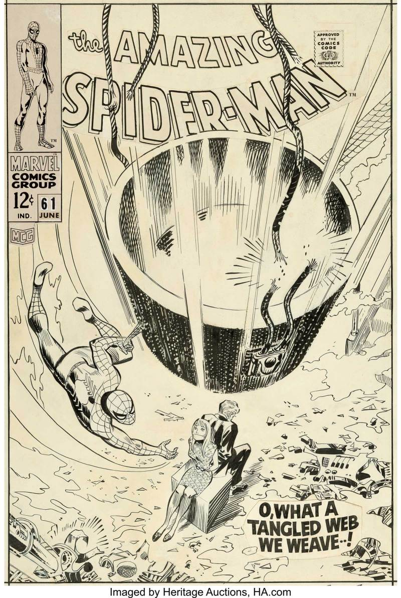John Romita Sr. Amazing Spider-Man #61 Cover Original Art (Marvel, 1968). The first cover appearance for Gwen Stacy as well as her father Captain George Stacy