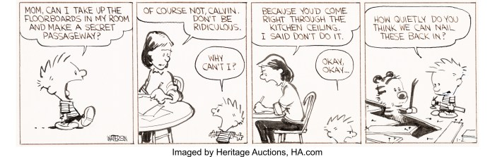 Bill Watterson Calvin and Hobbes Daily Comic Strip Original Art dated 1-21-86 (Universal Press Syndicate, 1986)