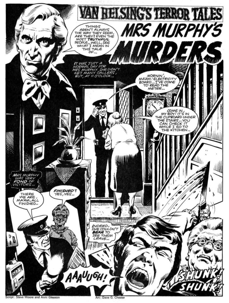 """Memorably macabre - Dave Gibbons provides the art for """"Mrs Murphy' Murders"""", written by Steve Moore and Anne Gleeson, for House of Hammer Issue 23"""