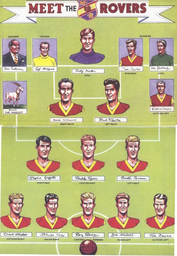 A Melchester Rovers line up featuring Roy of the Rovers, fatured in The Bumper Book of Roy of the Rovers