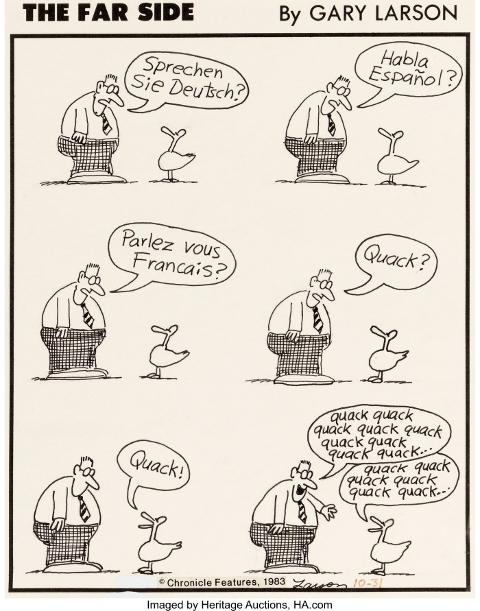 Gary Larson The Far Side Daily Comic Strip Original Art dated 10-31-83 (Chronicle Features, 1983).