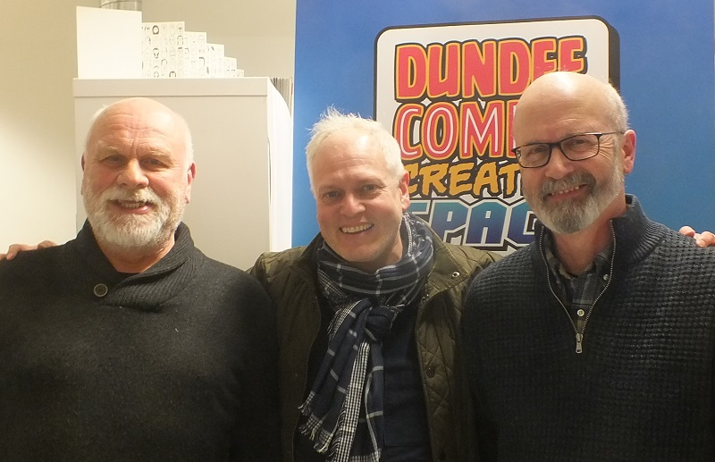 New DCT Heritage Editor Gordon Tait (centre) with former Commando editors George Low and Calum Laird at Dundee University's DCCS, April 2018 (c) Jeremy Briggs