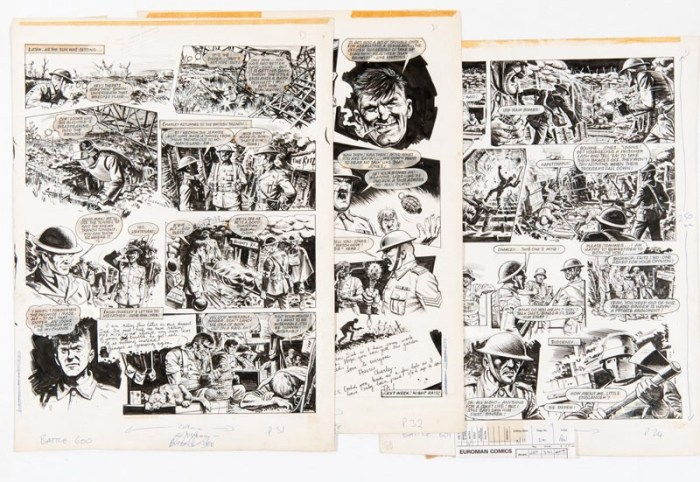 "Three original ""Charley's War"" artworks by Joe Colquhoun (signed to page 1) from Battle 601 and 602 (1980). Charley's platoon raids the Jerry tunnel in no-man's-land but his sniper nemesis has evaded the battle and is waiting..."