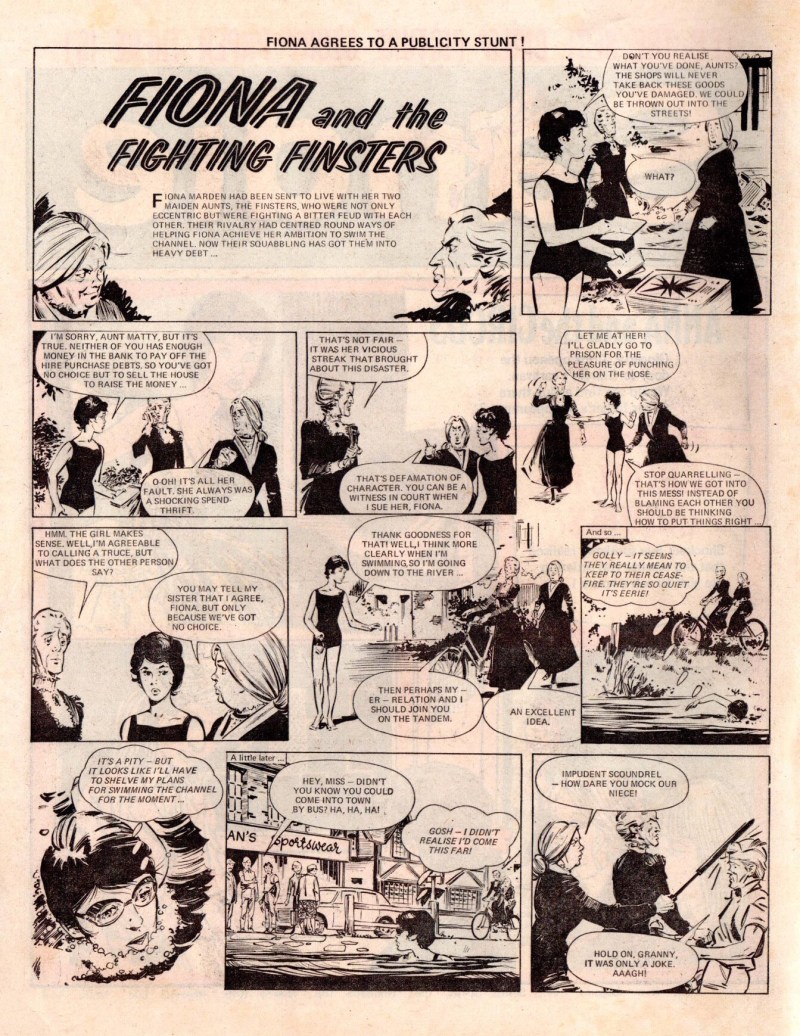 """Fiona and the Fighting Finsters"", ran in Sandie in 1973. Artist unknown"