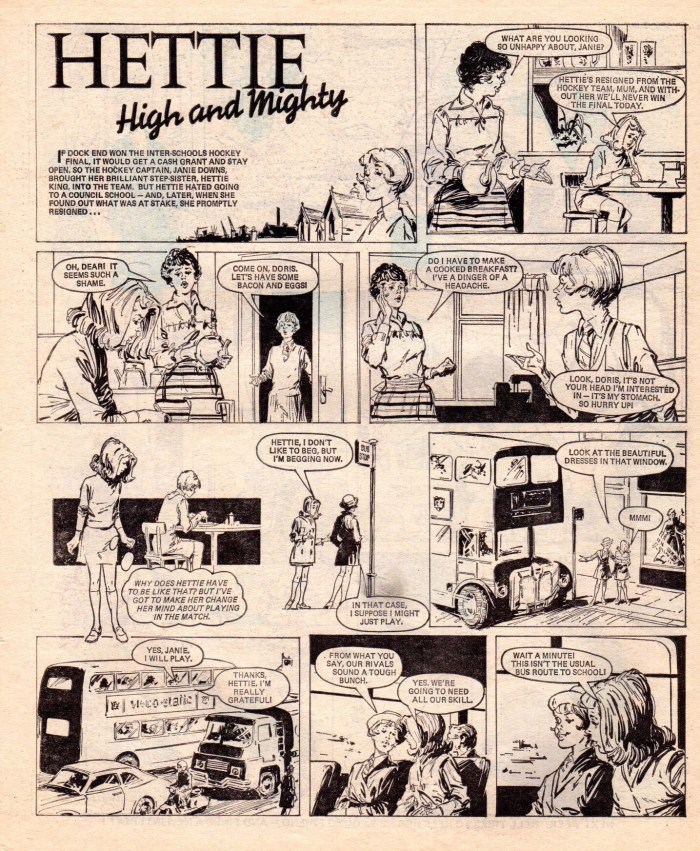 "A page from ""Hettie High and Mighty"", which was published in Jinty in 1975. Artist unknown."