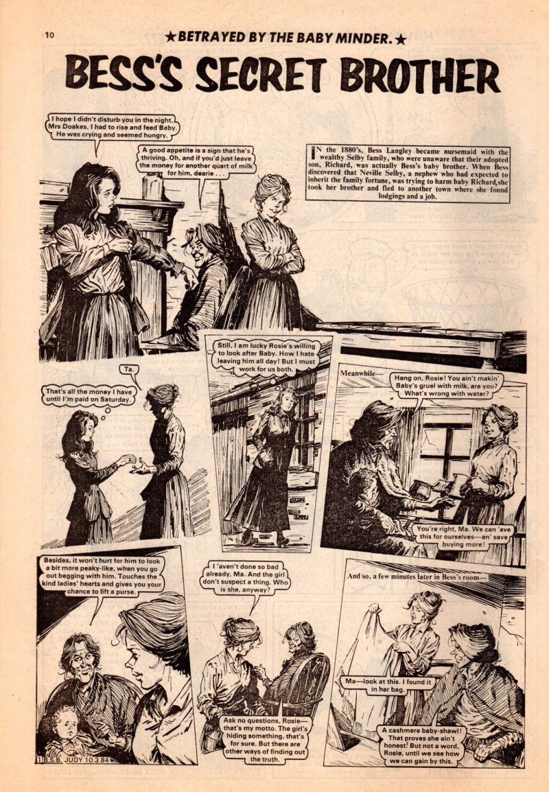 """Bess's Secret Brother"" , a strip for Judy published in the 1980s. Artist unknown"