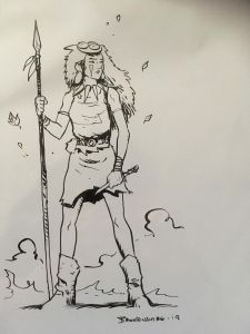 Nikki Bates is very pleased with this convention sketch, courtesy of Nick Brokenshire