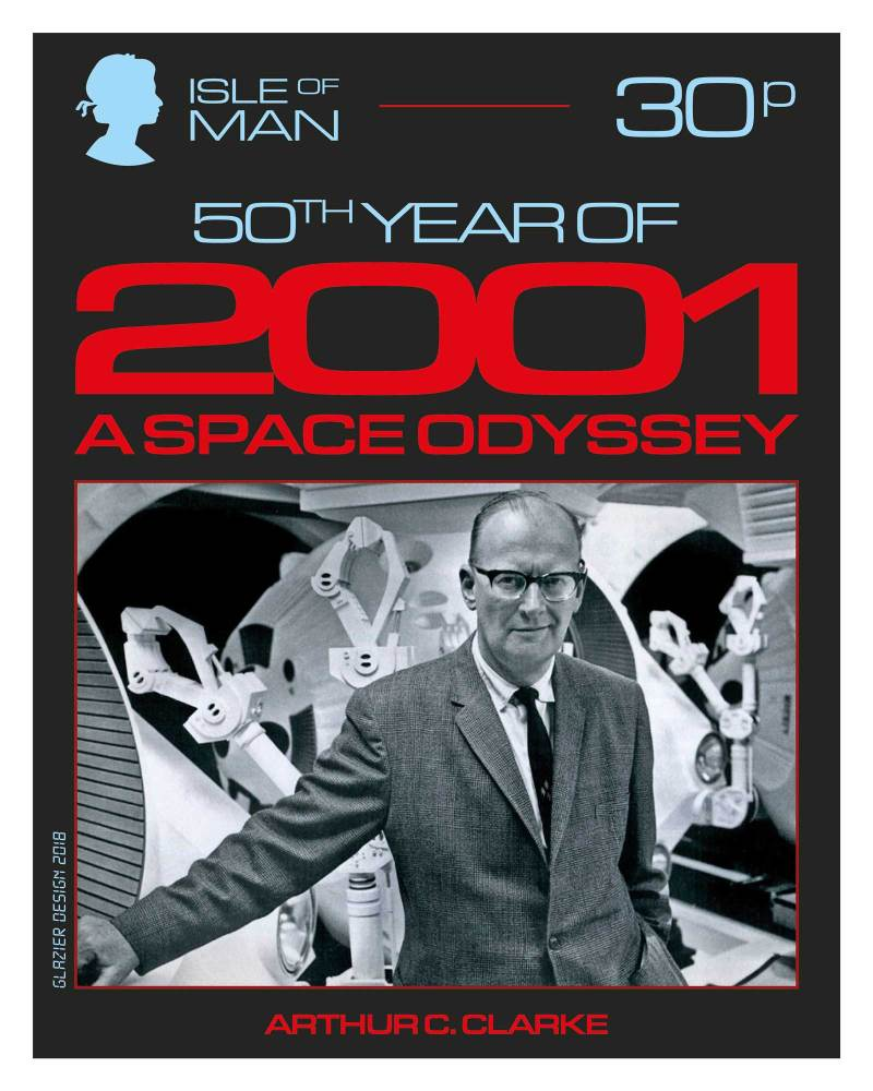 50 Years of 2001: A Space Odyssey - Isle of Man Stamps - Arthur C. Clarke