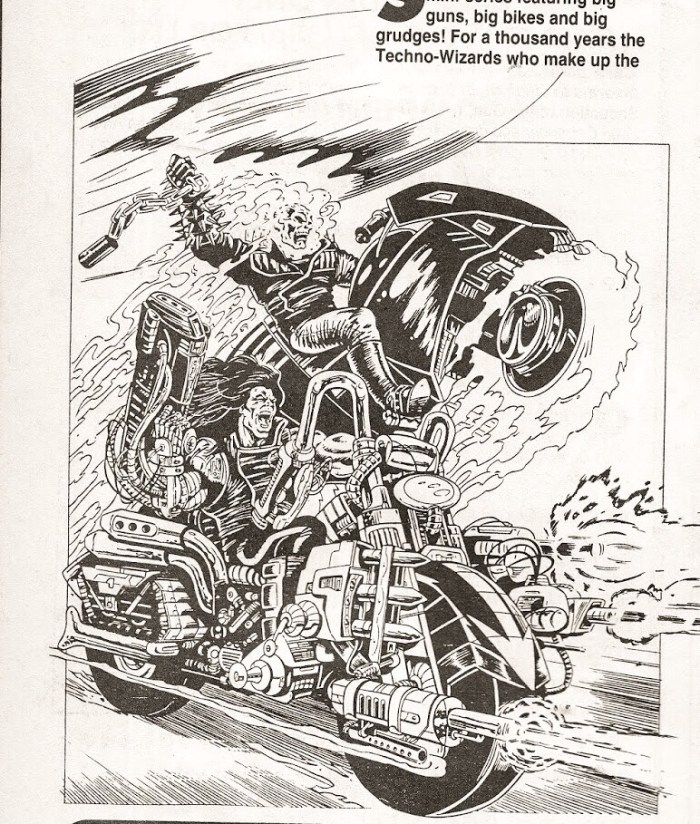 Early Shadow Riders promotional art by Brian Williamson. Brian was keen to draw the series as well as co-write it, but Paul Neary opted to use Ross Dearsley