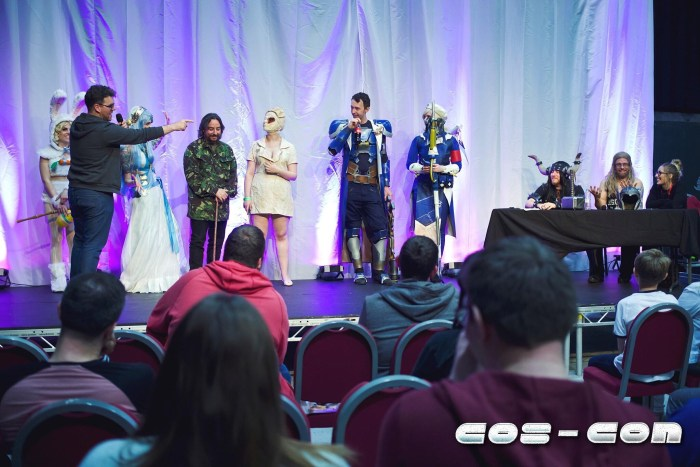 Cos-Con's Host Des O'Gorman, Judges Kitty Lappin, Mighty Cushion Cosplay and Lionheart Cosplay, Entrants Evilblu, Milkystar Cosplay, Katelyn and her partner. Photo: Alasdair Watson Photography