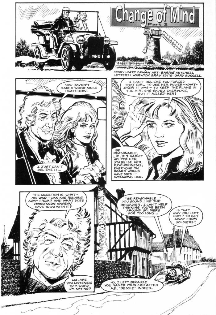 """""""Change of Mind"""", a Third Doctor story by Kate Orman, drawn by Barrie Mitchell"""