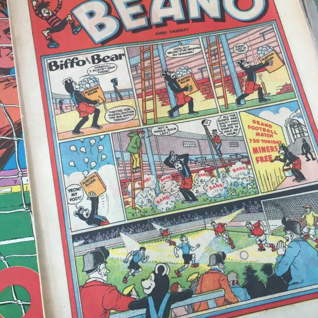"""A Beano featuring a football-themed lead strip starring """"Biffo the Bear"""" from 1959"""