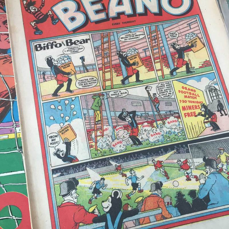 "A Beano featuring a football-themed lead strip starring ""Biffo the Bear"" from 1959"