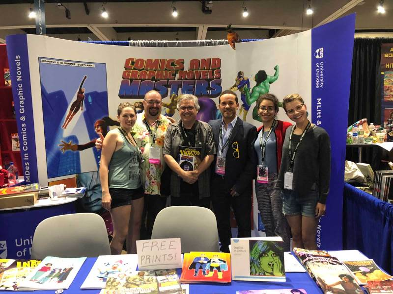 The University of Dundee tam at San Diego Comic Con 2018 with Scott McCloud (centre)