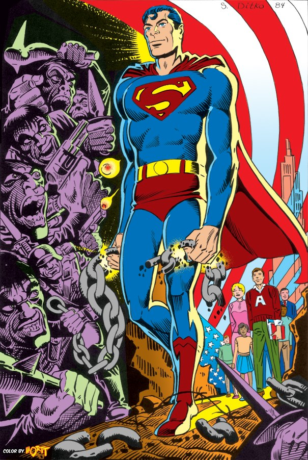 """A Superman pin-up for Superman #400 by Steve Ditko. """"Ditko seamlessly integrates the type of images that he used in his own work like Mr. A and Avenging World, iconographic conflicts between savagery and civilisation, oppression and freedom,"""" notes the Ditko Comics Web Blog, """"and combines them with a great image of Superman standing as a barrier defending free people from the forces of evil. It works perfectly, both as as Superman image and a Ditko image."""""""