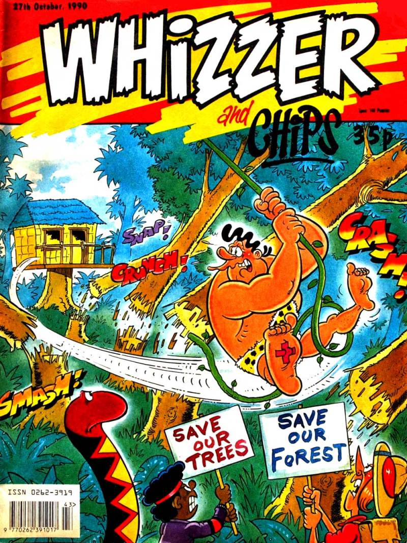 Jimmy Hansen's cover for the last issue of Whizzer and Chips, published in October 1990