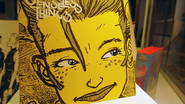 "The cover of the 7 inch record from Senseless Things, ""Too Much Kissing Trevor"""