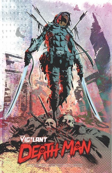 Death Man from Rebellion's superhero series The Vigilant. Art by Simon Coleby