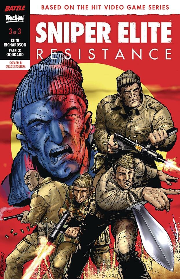 Carlos recently provided this variant cover for Rebellion's Battle-inspired title Sniper Elite: Resistance (for #3), which sees the return of the Rat Pack