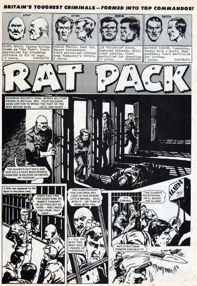 """The opening page of the very first """"Rat Pack"""" story, published in Battle Picture Weekly in March 1974 (With thanks to Lew Stringer)"""