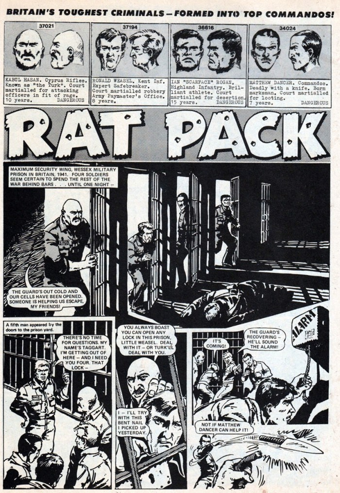 "The opening page of the very first ""Rat Pack"" story, published in Battle Picture Weekly in March 1974 (With thanks to Lew Stringer)"